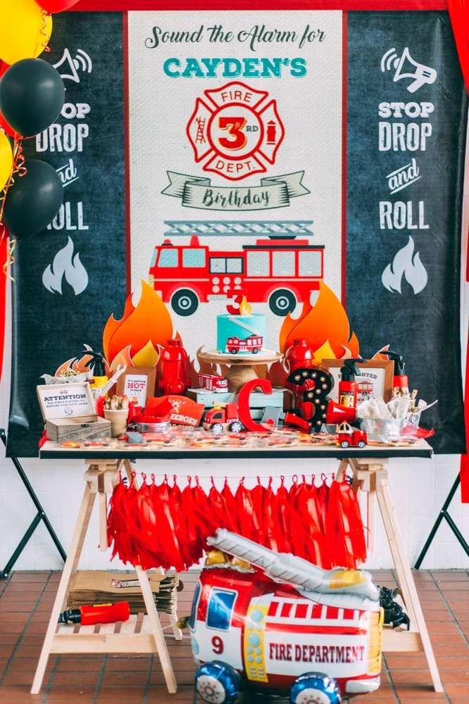 Fire Truck Birthday Decoration Ideas New Fire Truck Firefighter Birthday Party Ideas