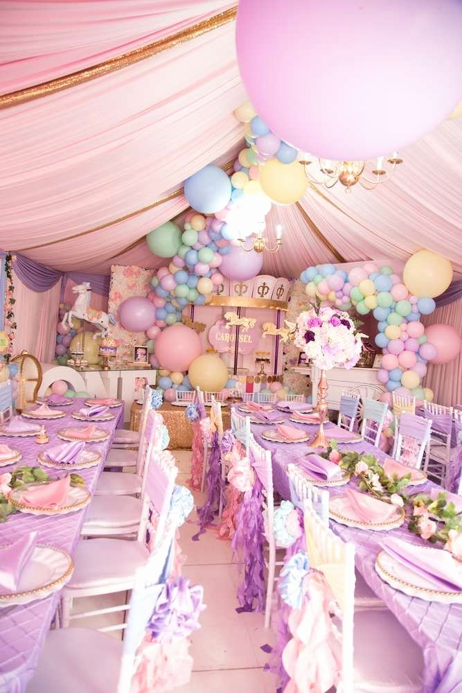 Girl 1st Birthday Decoration Ideas Luxury Carousel Birthday Party Ideas 26 Of 26