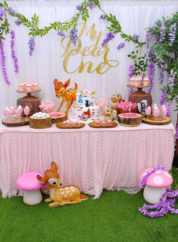 Girl 1st Birthday Decoration Ideas Unique Loving This Gorgeous Bambi themed 1st Birthday Party See