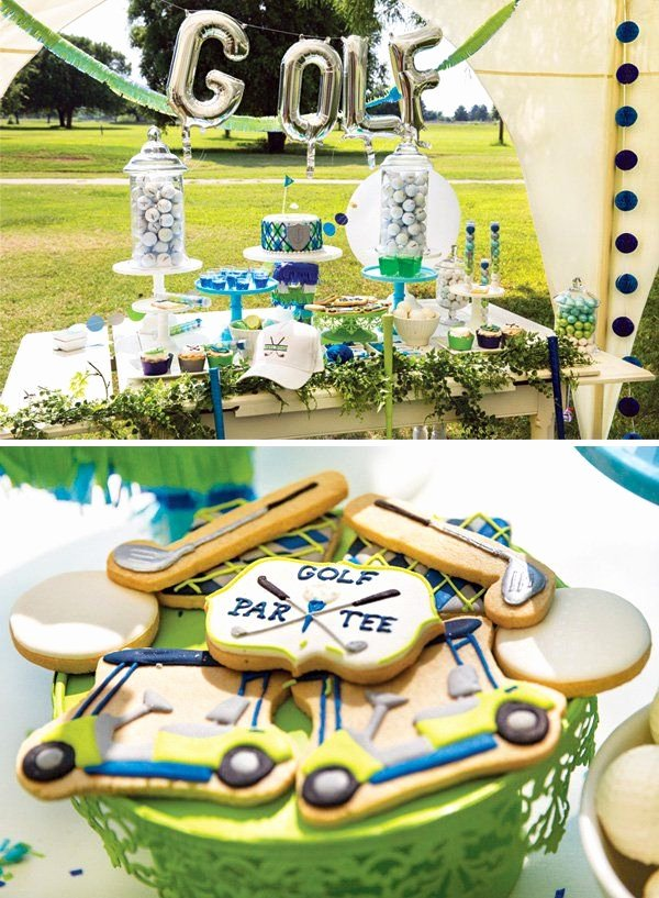 "Golf Birthday Decoration Ideas Elegant It S Tee Time "" Preppy Golf themed Birthday Party Hostess"