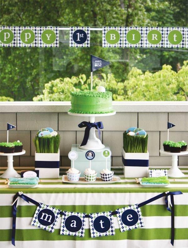 "Golf Birthday Decoration Ideas New A Hole In E"" Par Tee Golf First Birthday Hostess with"