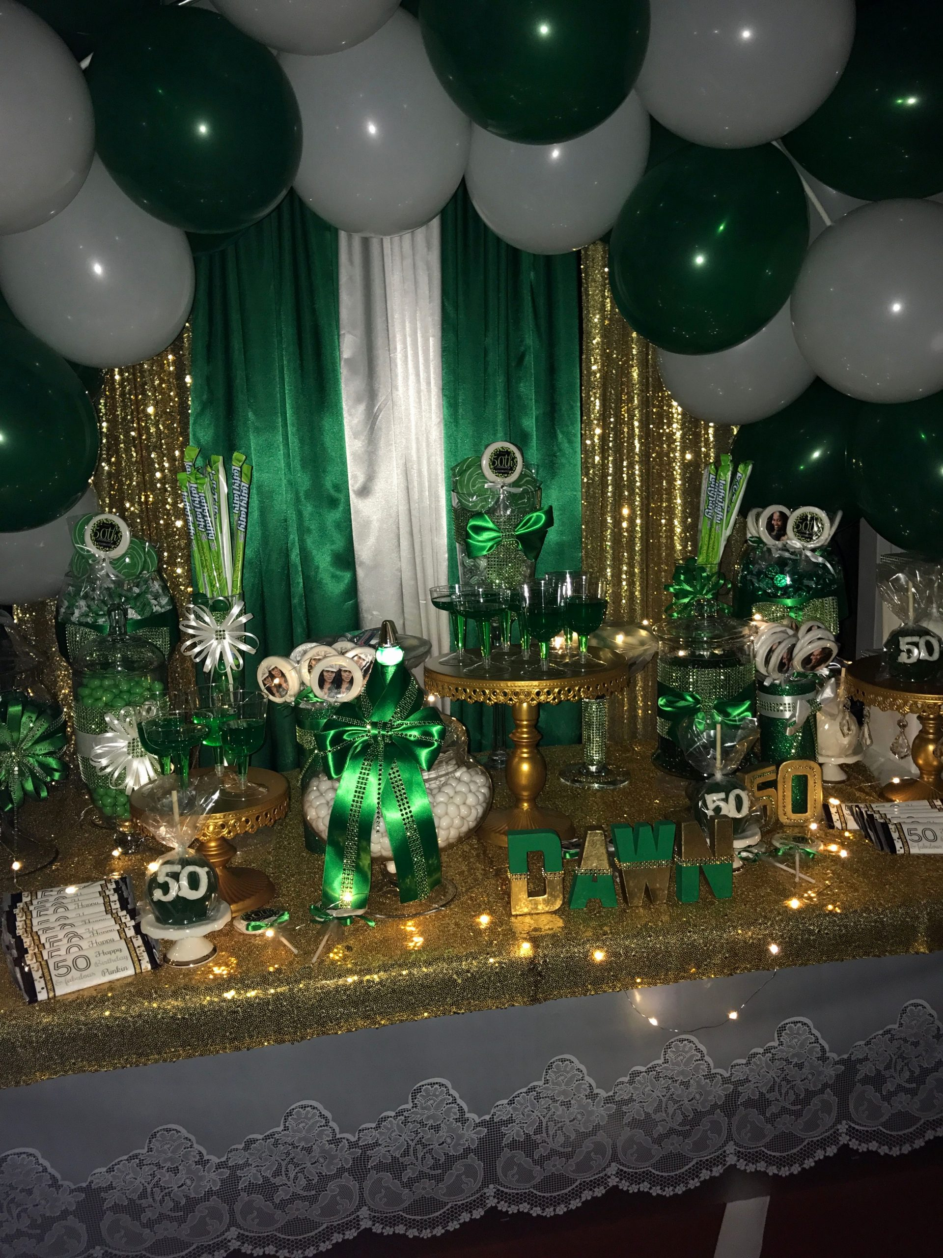 Green and Gold Birthday Decoration Ideas Beautiful Green White and Gold 50th Birthday
