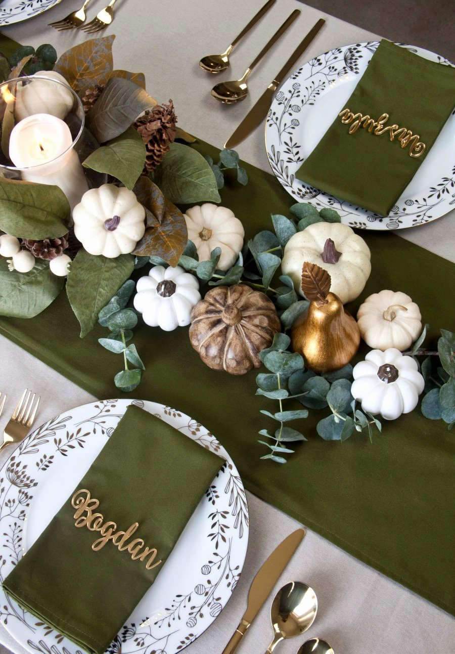 Green and Gold Birthday Decoration Ideas Inspirational Thanksgiving Tablescape Olive Green & Gold theme Jms
