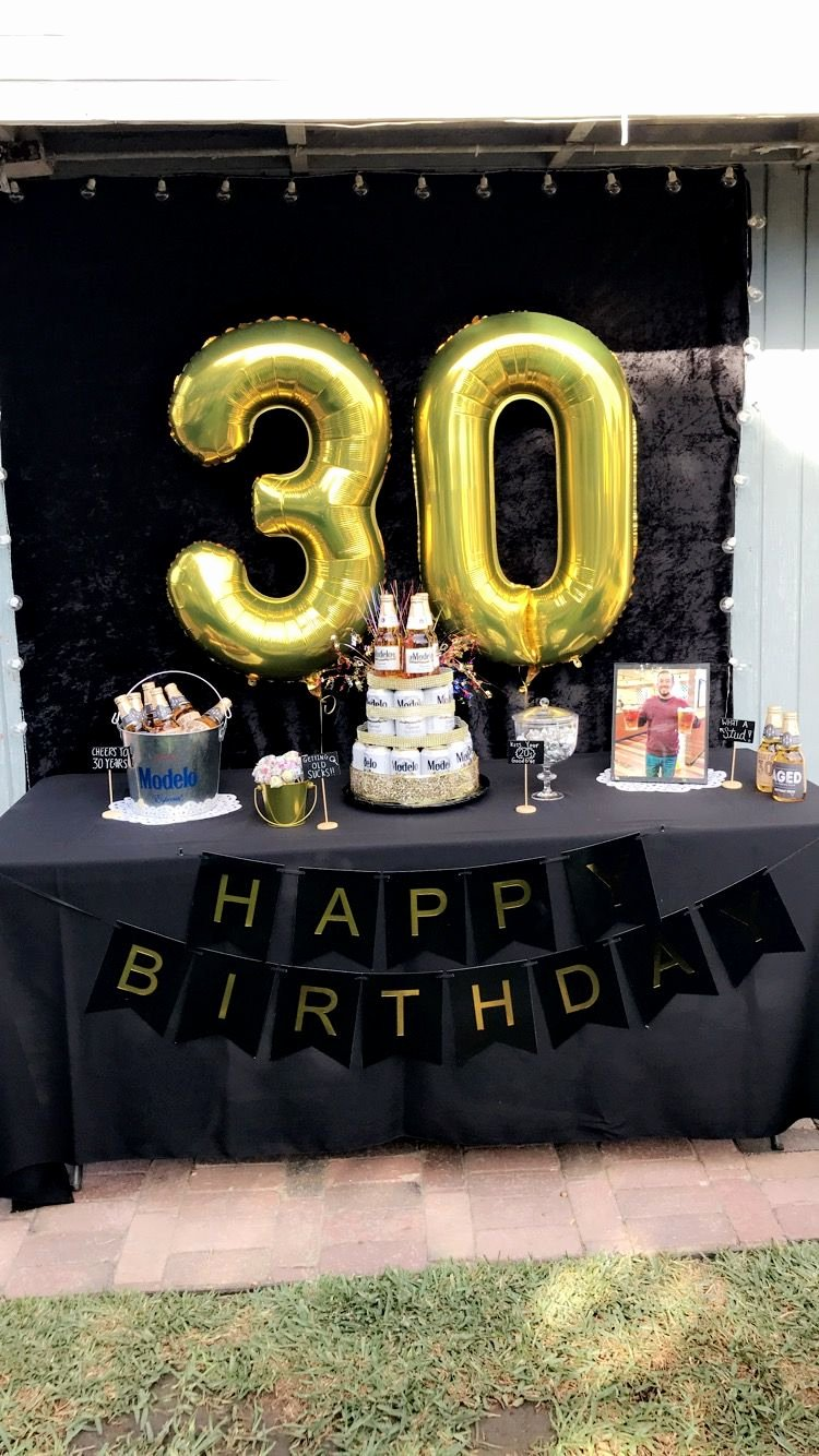 Guys Birthday Decoration Ideas New 30th Birthday Party Ideas Men Black and Gold Party Beer