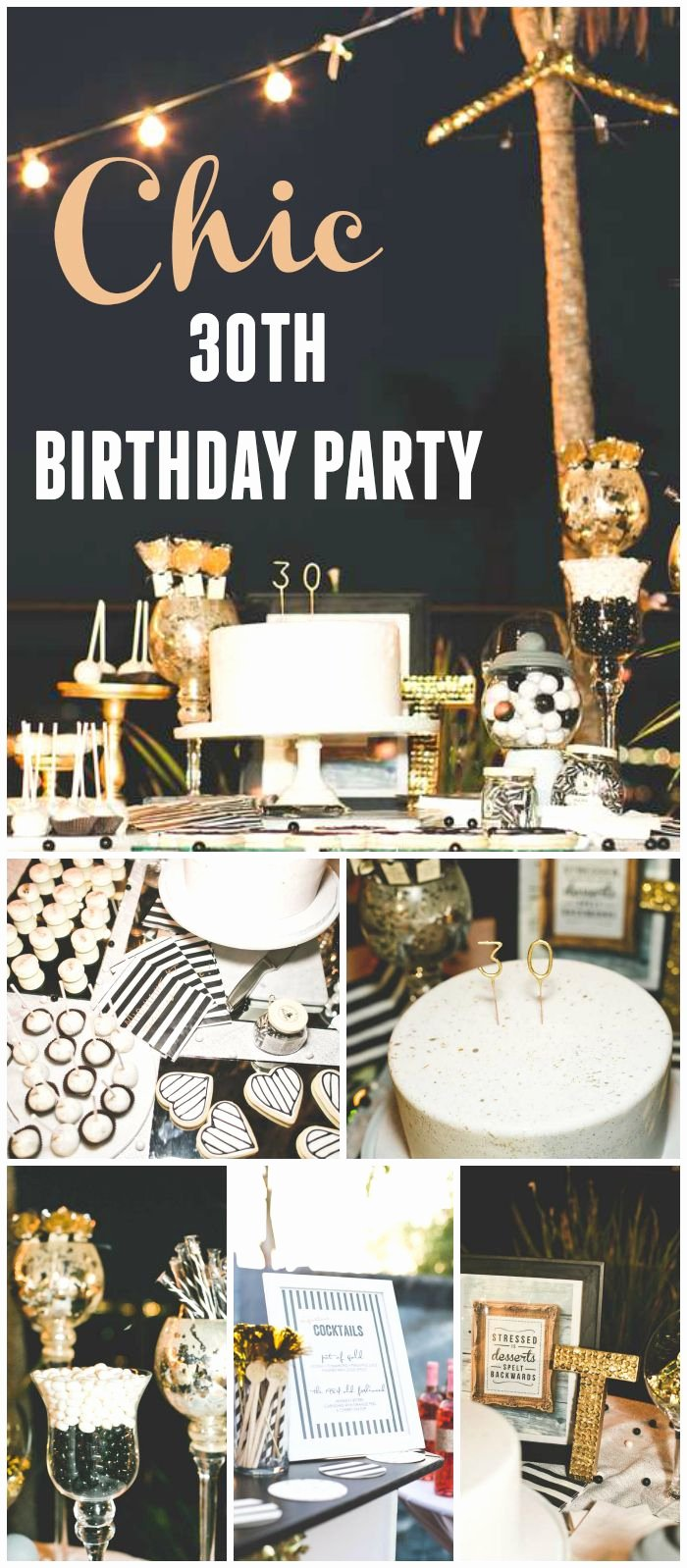 "Happy 30th Birthday Decoration Ideas Unique Stripes & Glitter Birthday ""chic Black White Gold 30th"