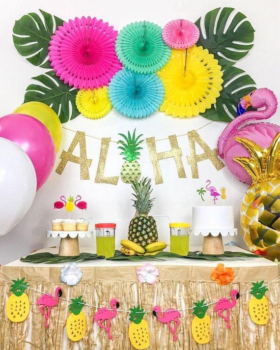 Hawaiian Birthday Decoration Ideas Lovely Details About Tropical Luau Hawaiian Summer Flamingo