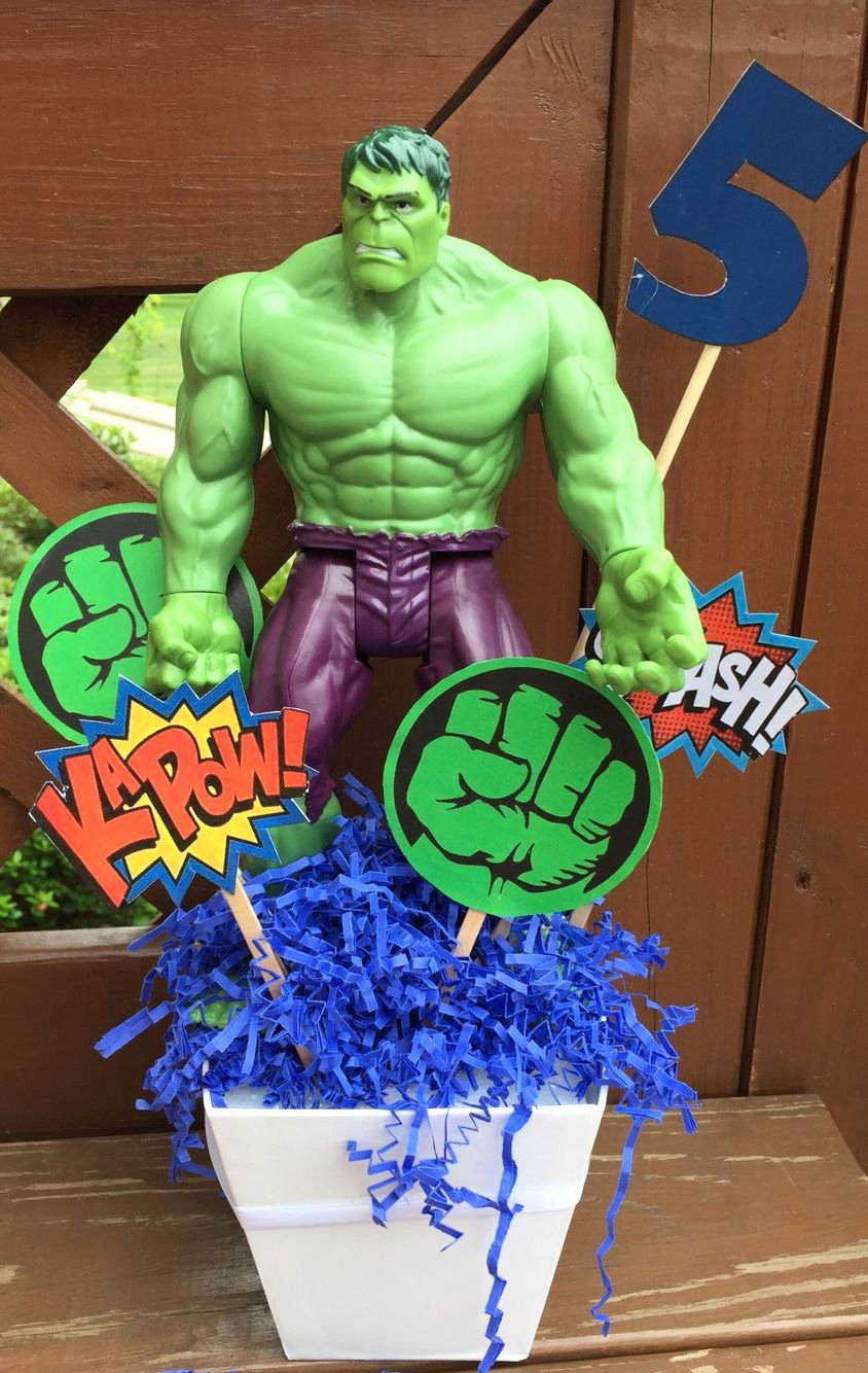 Hulk Birthday Decoration Ideas Awesome Superhero Centerpiece
