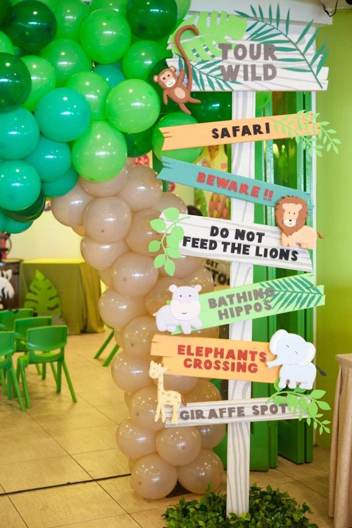 Jungle theme Birthday Decoration Ideas Best Of Animal Safari Birthday Party Kara S Party Ideas