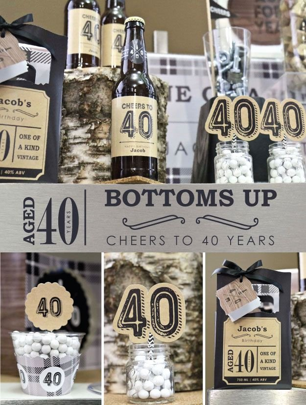 Mens 40th Birthday Decoration Ideas Beautiful Bottoms Up 40th Birthday Party Ideas for Guys