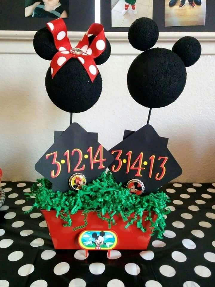 Mickey and Minnie Birthday Decoration Ideas Awesome Minnie & Mickey Mouse Birthday Centerpiece Made these for A