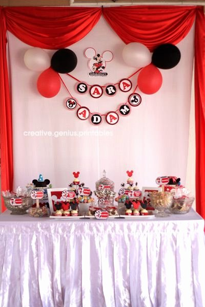 Mickey and Minnie Birthday Decoration Ideas New Creative Genius Printables™ Party theme Mickey & Minnie