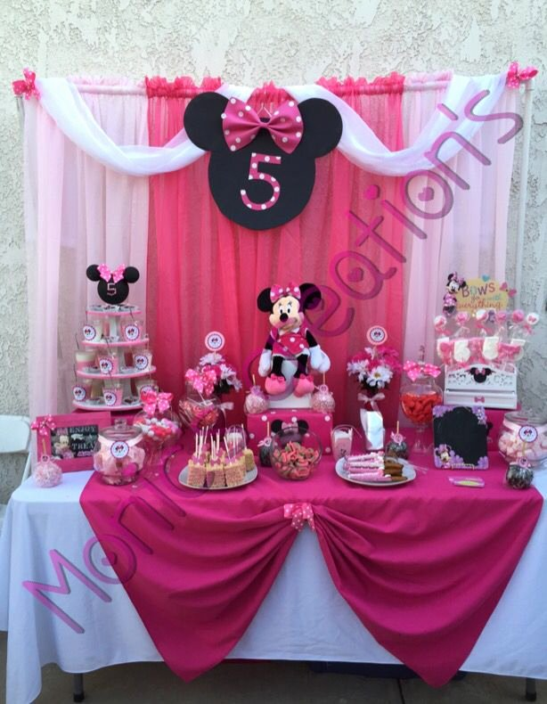 Minnie Birthday Decoration Ideas New Minnie Mouse Candy Buffet by Monic S Party Creations