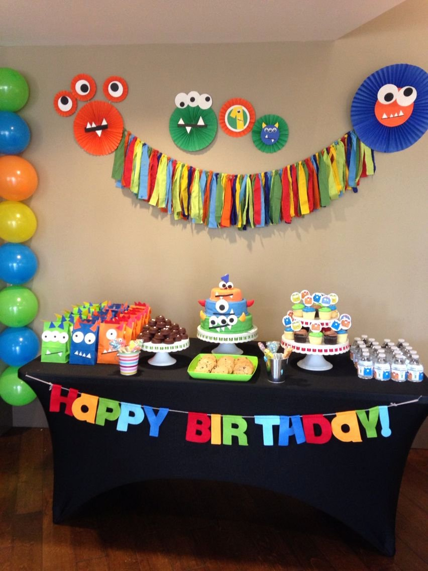 Monster Birthday Decoration Ideas Fresh Monster Party First Birthday Party Boy