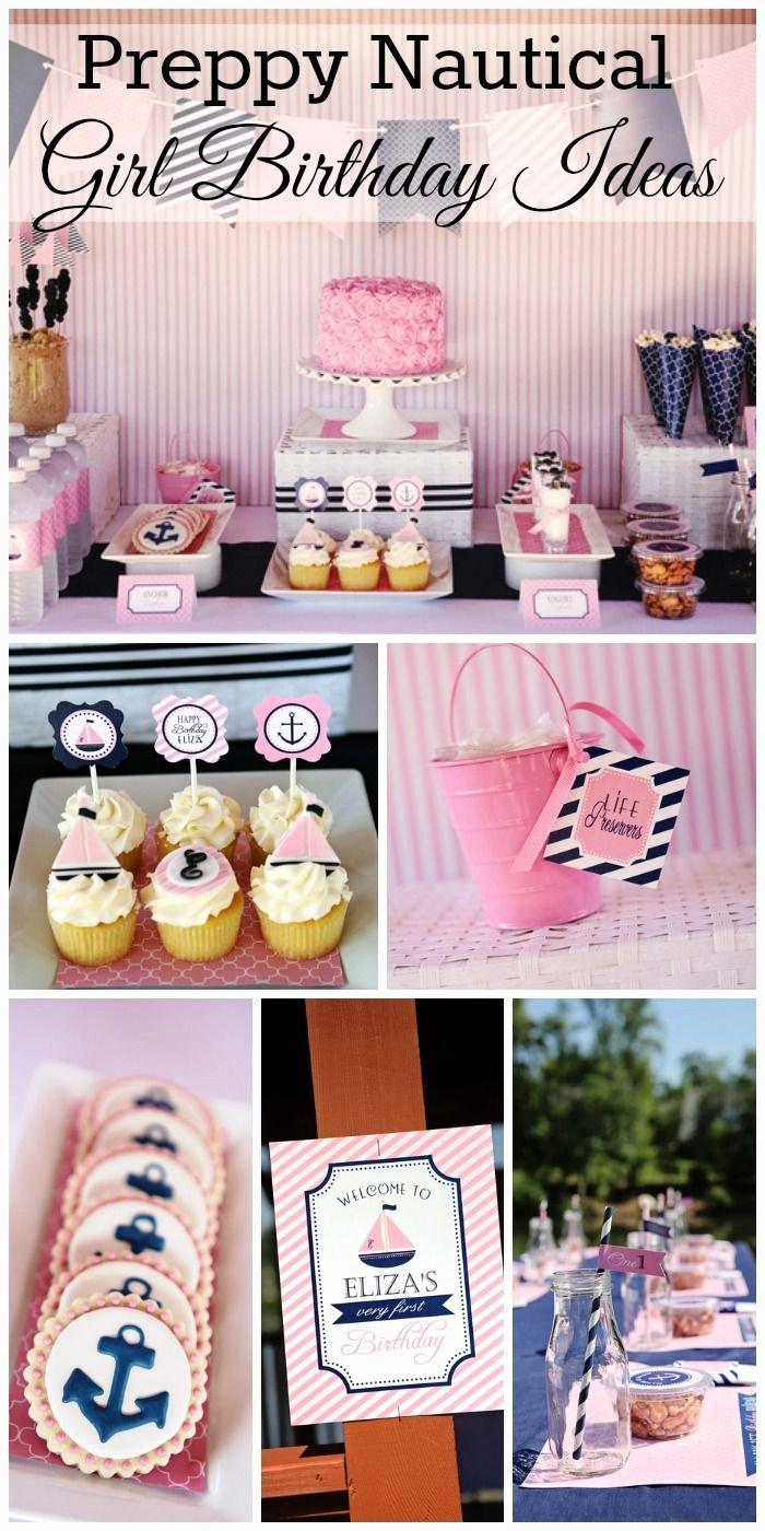 "Nautical Birthday Decoration Ideas Elegant Nautical Birthday ""pink and Navy Preppy Nautical Party"