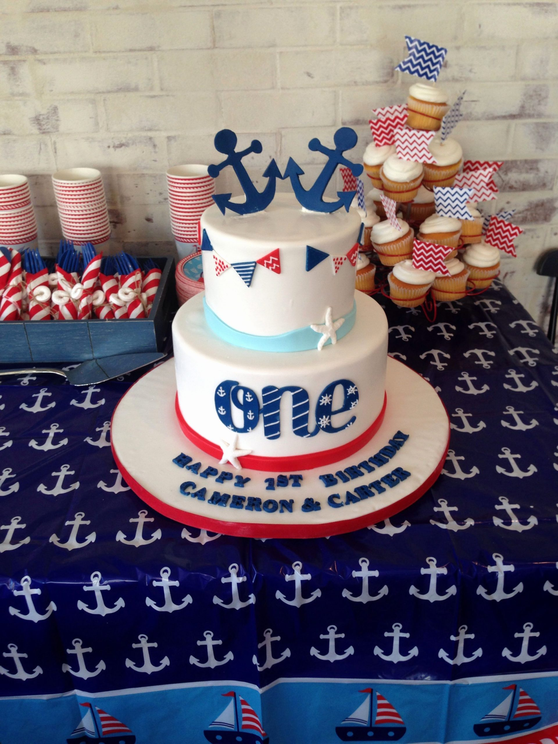 Nautical Birthday Decoration Ideas Inspirational Twins First Birthday Cake First Birthday Party Sailor