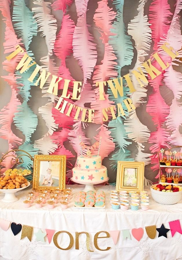 One Year Birthday Decoration Ideas New Pink and Gold Twinkle Little Star 1st Birthday Party