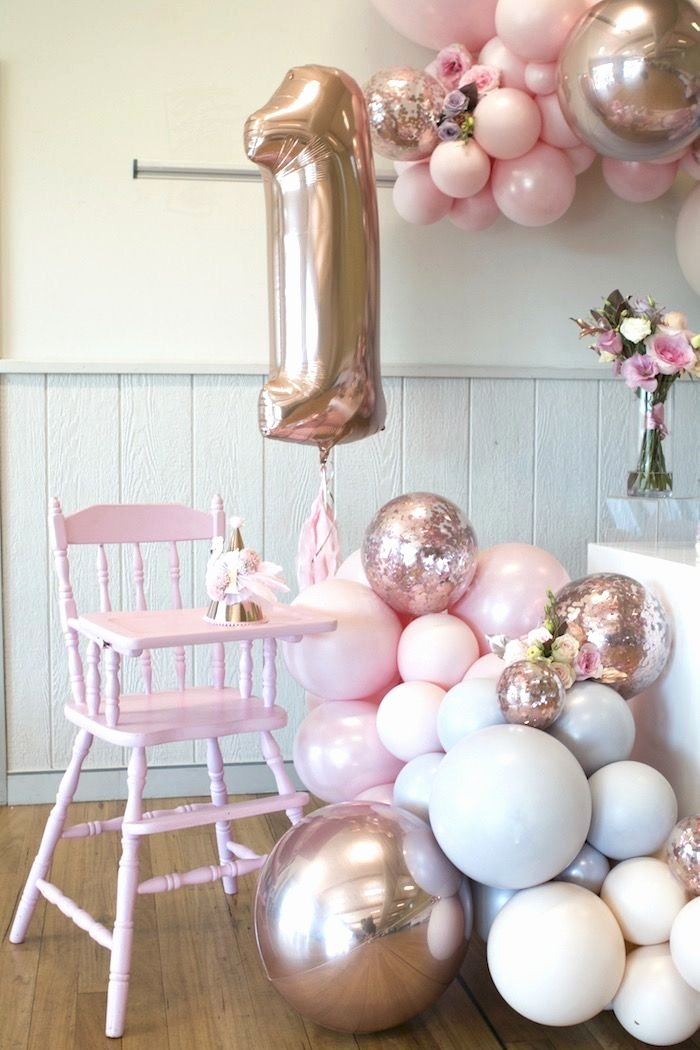 One Year Old Birthday Decoration Ideas Fresh Rose Gold and Pink Unicorn E Year Old Party