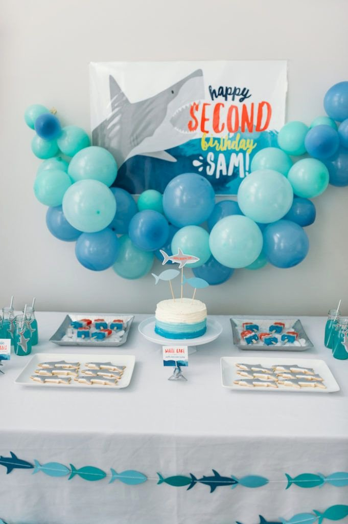 """Shark Birthday Decoration Ideas Unique Chomp"""" Shark themed Birthday Party with Images"""