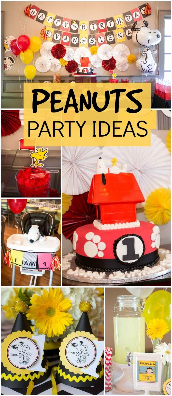 "Snoopy Birthday Decoration Ideas New Snoopy & Peanuts Birthday ""our Twin Peanuts First"