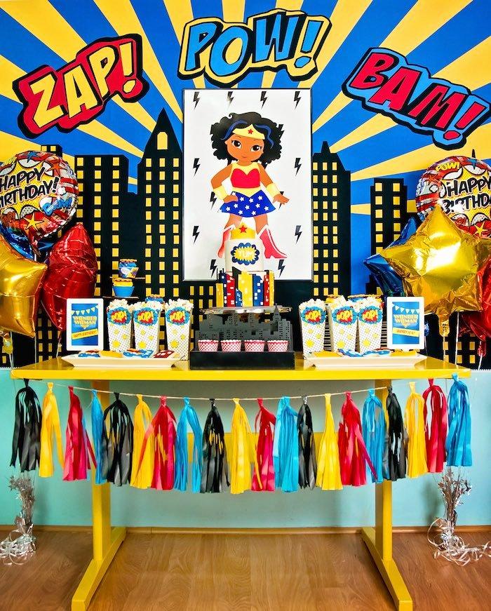 Superhero Birthday Decoration Ideas Inspirational Kara S Party Ideas Wonder Woman Superhero Birthday Party