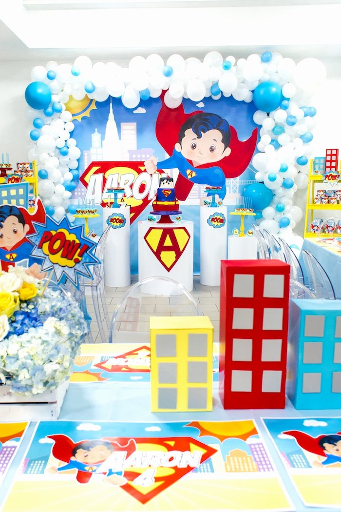 Superman Birthday Decoration Ideas Lovely Kara S Party Ideas Superman Birthday Party
