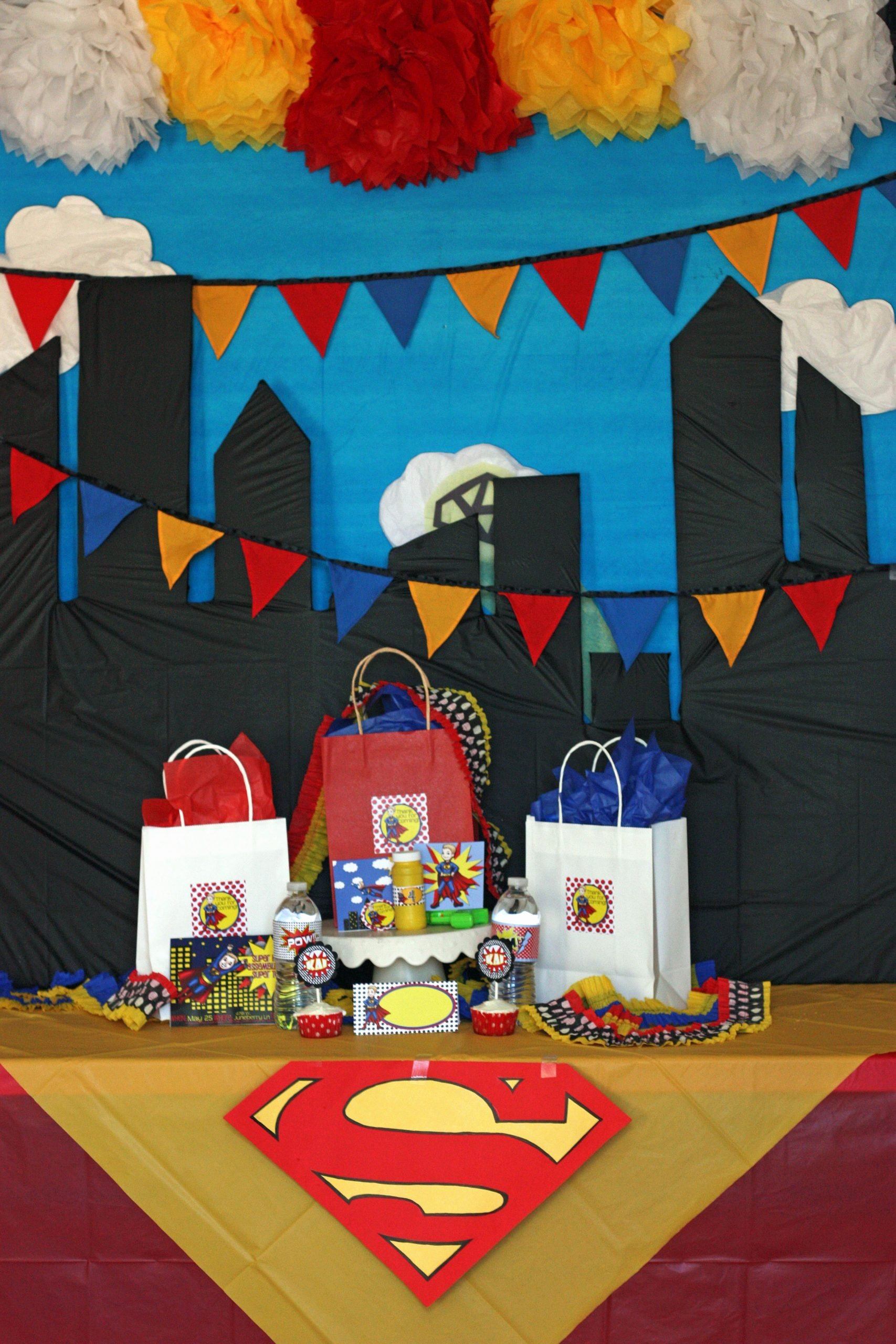 Superman Birthday Decoration Ideas New Superhero Party Backdrop with Swag Bags and Custom Made