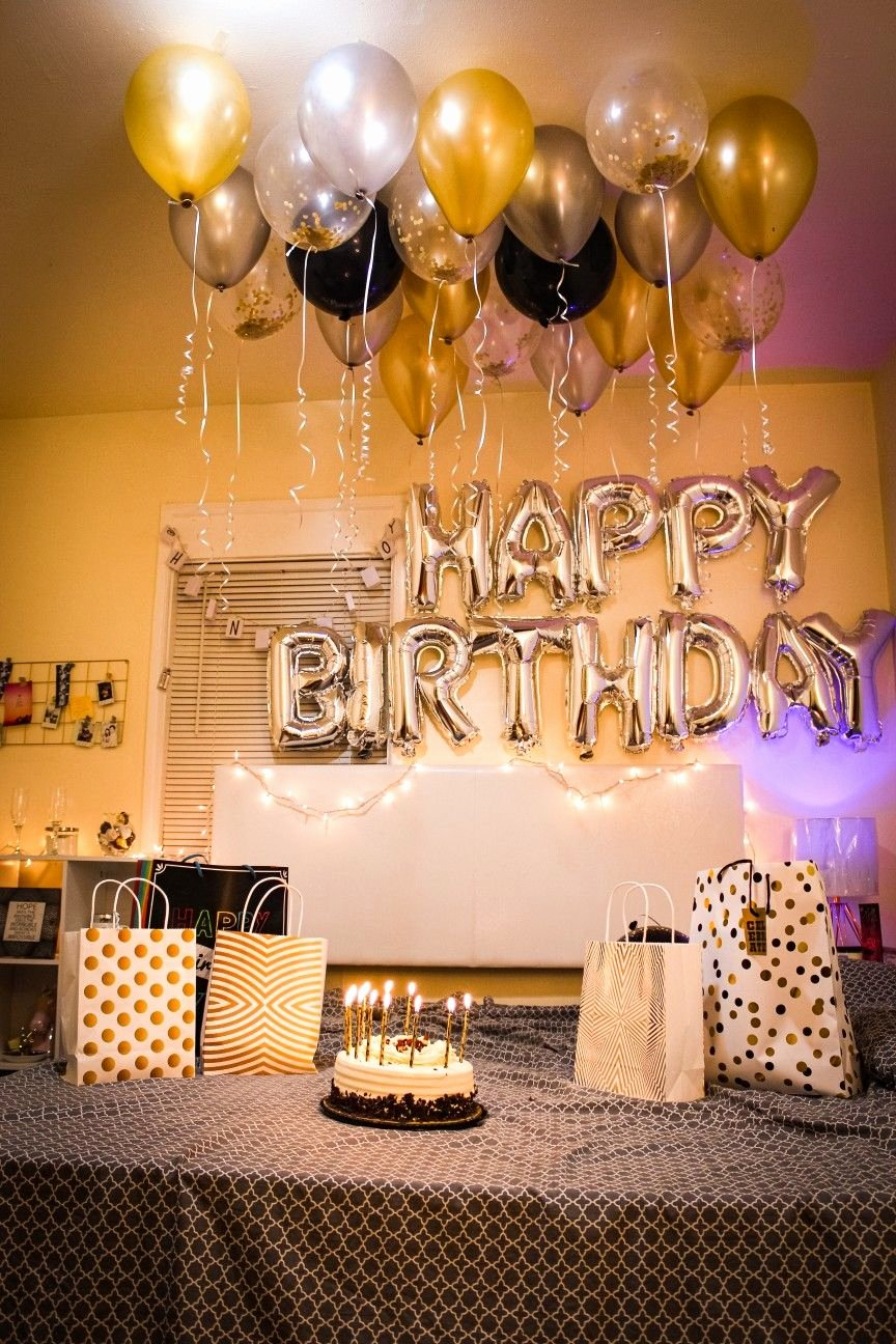 Surprise Birthday Decoration Ideas for Husband Lovely Birthday Decorations Ideas Golden and Black Decorations