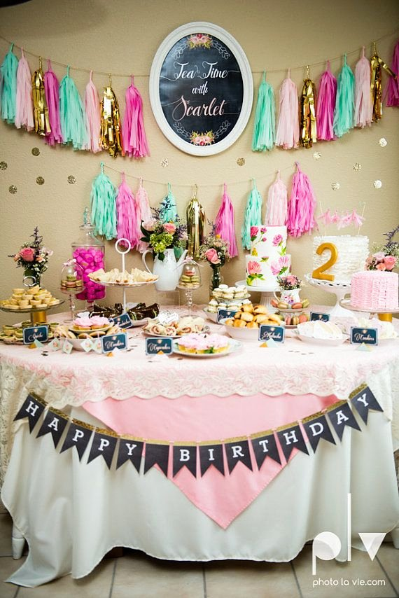 Tea Party Birthday Decoration Ideas Luxury Tea Party theme Birthday Party Plete Party Package Pink