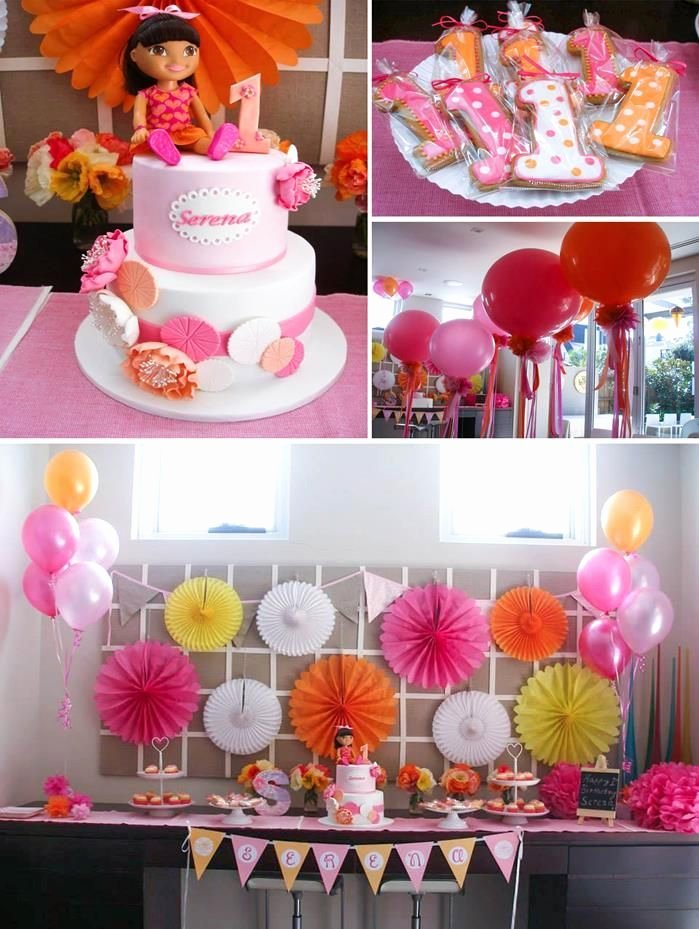 Theme Birthday Decoration Ideas New Dora the Explorer Modern Girl Birthday Party