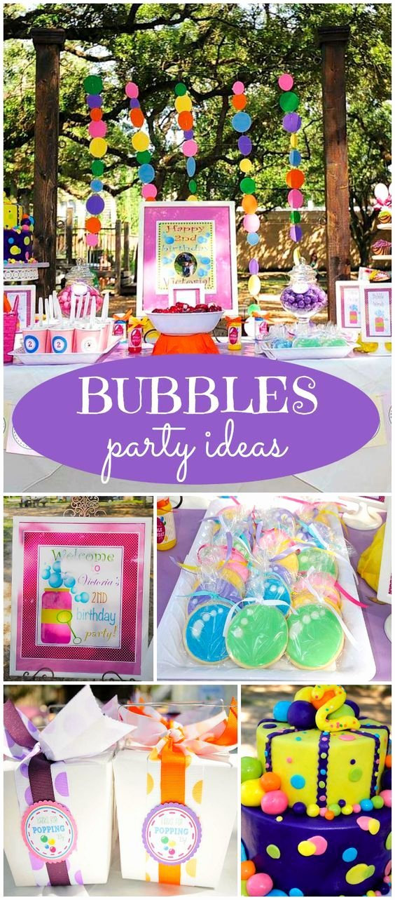 "Toddler Birthday Decoration Ideas Awesome Bubbles Birthday ""victoria S Bubbles themed 2nd Birthday"