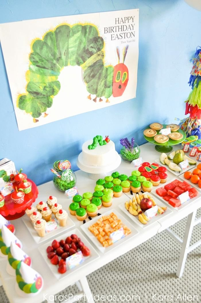 Toddler Birthday Decoration Ideas Luxury Raupe Nimmersatt Geburtstagsbuffet