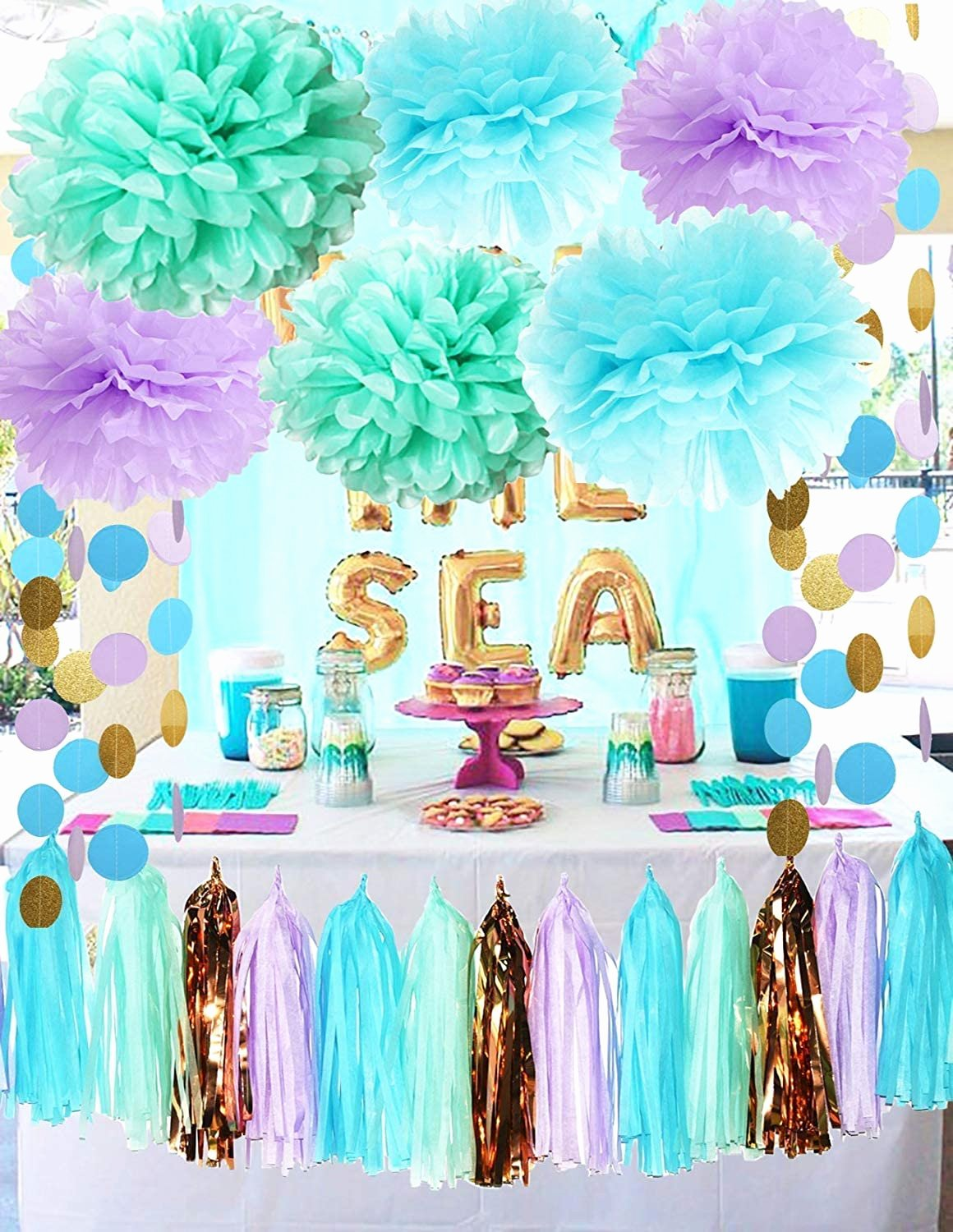 Under the Sea Birthday Decoration Ideas Lovely Mermaid Party Decorations Under the Sea theme Purple Blue Mint Baby Shower Decorations Tissue Pom Poms First Birthday Decorations Purple Bridal Shower