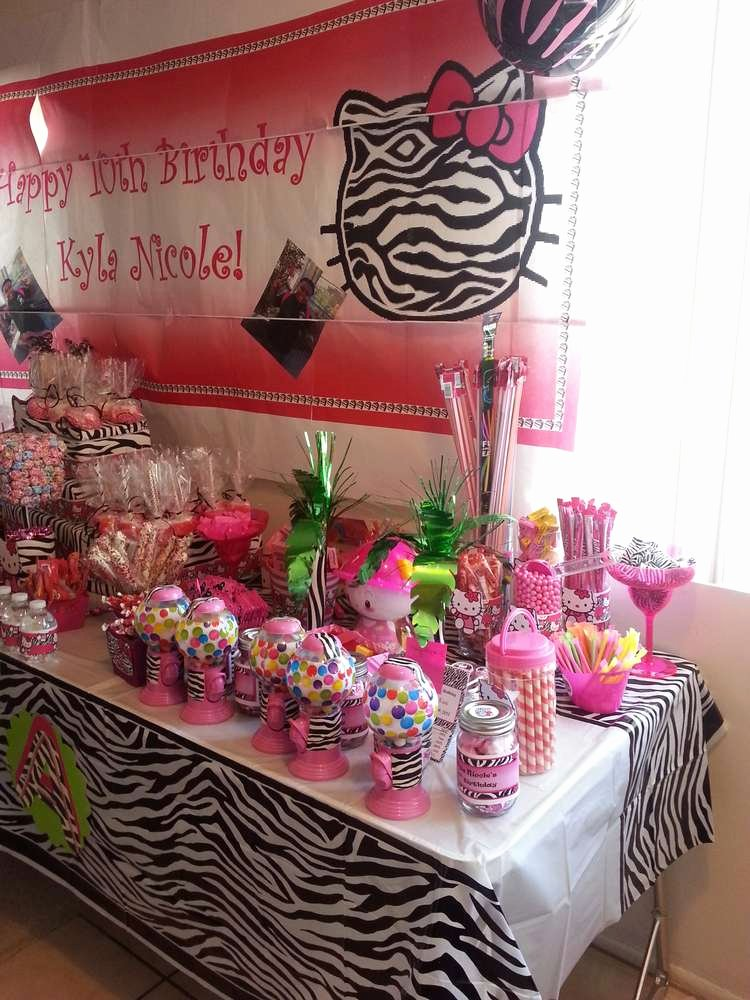 Zebra Birthday Decoration Ideas Fresh Hello Kitty Zebra Diva Birthday Party Ideas